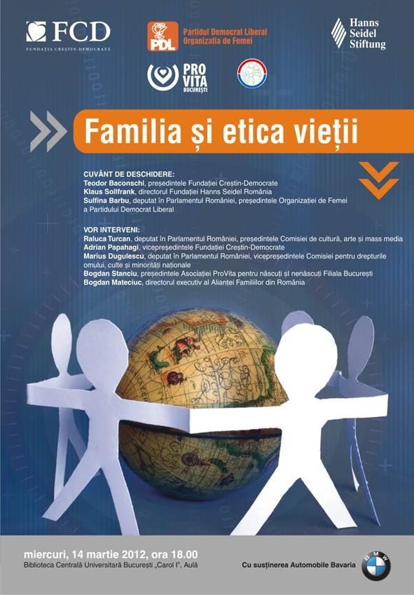 Fundatia Crestin Democrata conferinta Familia si etica vietii